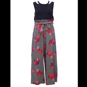 Iris & Ivy Girl's Navy Blue Floral Belted Jumpsuit